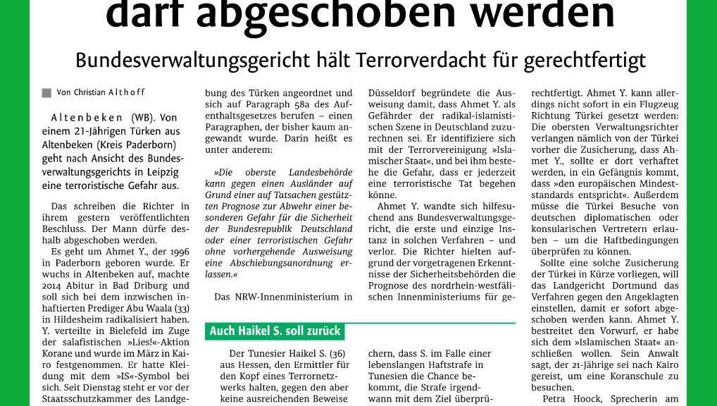 WB 22.09.2017  Gefährder  aus Altenbeken